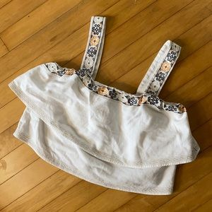 Madewell embroidered linen crop top